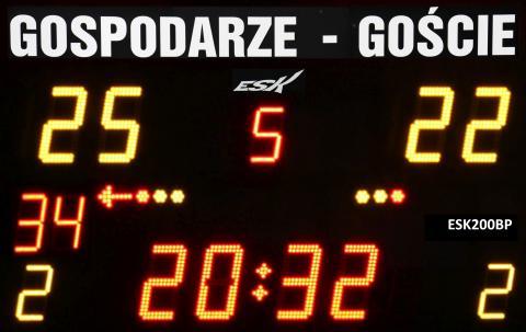 ESK200BP Bezprzewodowa tablica wyników sportowych ze stałym napisem GOSPODARZE-GOŚCIE